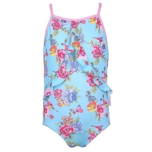 Sun Emporium Baby Girls Blue Pink Blossom Print Racer Back Swimsuit