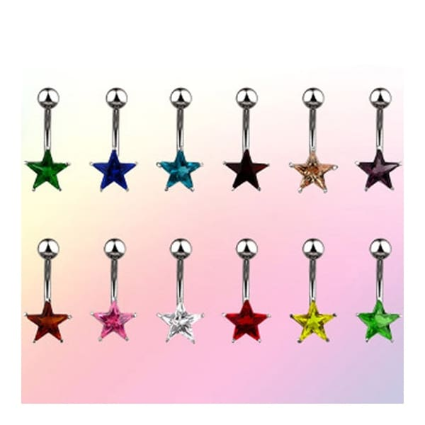 "Navel Belly Button Ring with Prong-Set 7mm Solitare Star CZ - 14GA 3/8"" Long (Sold Ind.)"