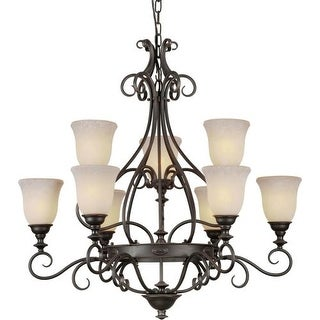 Forte Lighting 2539-09 9 Light 2 Tier Chandelier