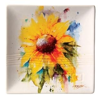 """Dean Crouser Sunflower Flower Snack Plate - 7"""" Sq"""