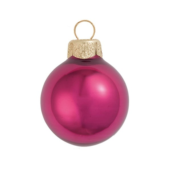 "28ct Pearl Pink Berry Glass Ball Christmas Ornaments 2"" (50mm)"