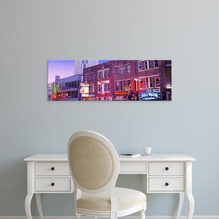 Easy Art Prints Panoramic Images's 'Neon signs on buildings, Nashville, Tennessee, USA' Premium Canvas Art