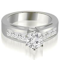 1.50 cttw. 14K White Gold Channel Set Princess Cut Diamond Engagement Ring