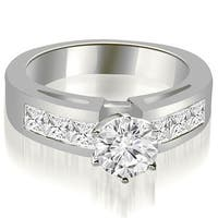 1.75 cttw. 14K White Gold Channel Set Princess Cut Diamond Engagement Ring