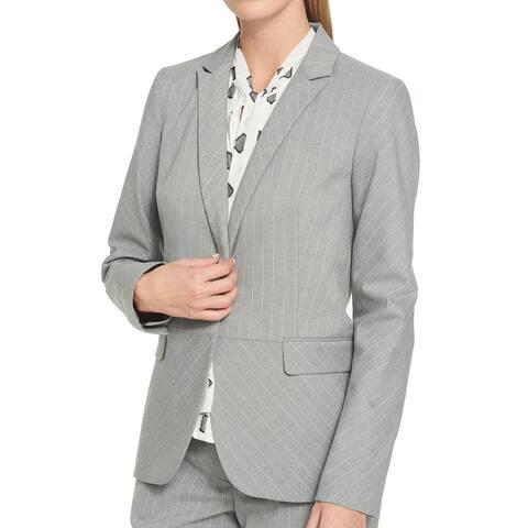 Tommy Hilfiger Gray Women's Size 10 Pinstriped One-Button Blazer
