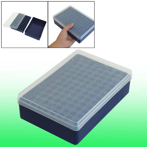 Household 96 Slots Dark Blue Plastic Cupcake Mould Tray Ice Cube Mold w Cover