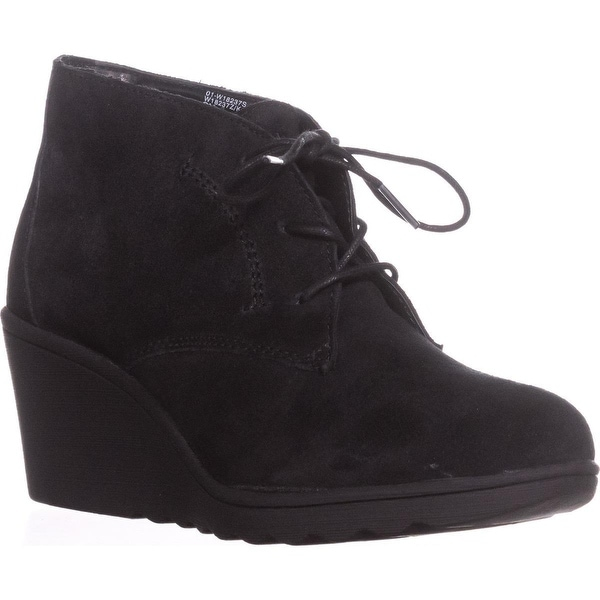 White Mountain Kahlua Lace Up Wedge Booties, Black