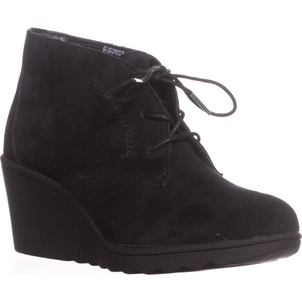 White Mountain Kahlua Lace Up Wedge Booties, Black - 9 us
