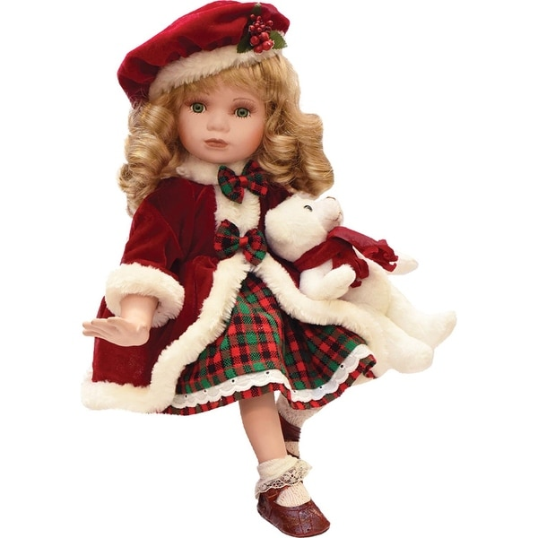 "18.5"" Porcelain ""Sarah"" in Plaid Winter Dress Sitting Collectible Christmas Doll"