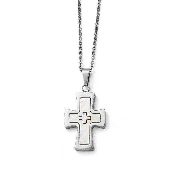 Chisel Stainless Steel Polished Mother Of Pearl Cross Necklace - 22 in