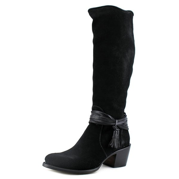 Lucchese Ellie Women Round Toe Suede Black Knee High Boot