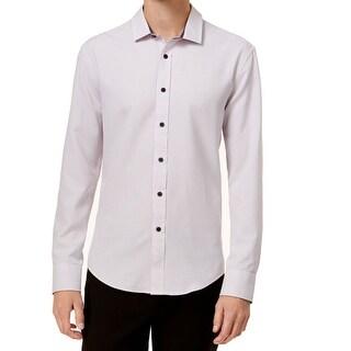 Vince Camuto Mens Large Checker Print Button Down Shirt