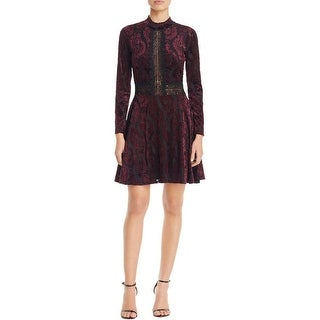 Aqua Womens Casual Dress Velvet Lace Trim