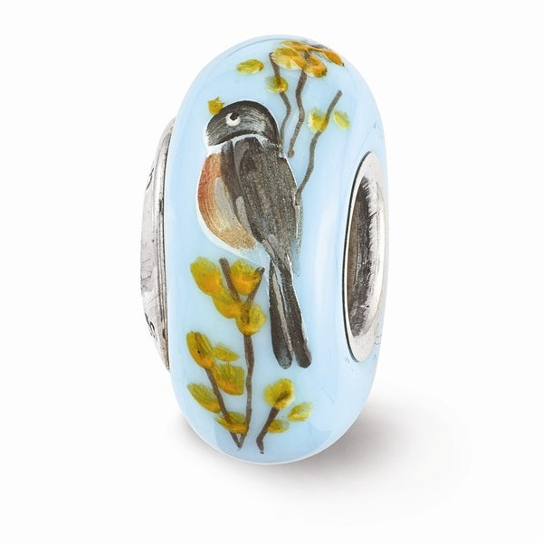 Sterling Silver Reflections Hand Painted Robin on Forsythia Glass Bead