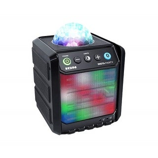 Ion ISP86 Insta Party Compact Rechargeable Bluetooth Wireless Speaker w/Dome & Grille Party Lights - 7 x 5.5 x 5.3