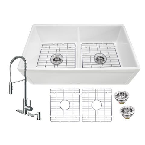 Soleil All-In-One White Fireclay Picture Frame/Plain Reversible 50/50 Double Bowl Apron Front Kitchen Sink with Pull Down Faucet