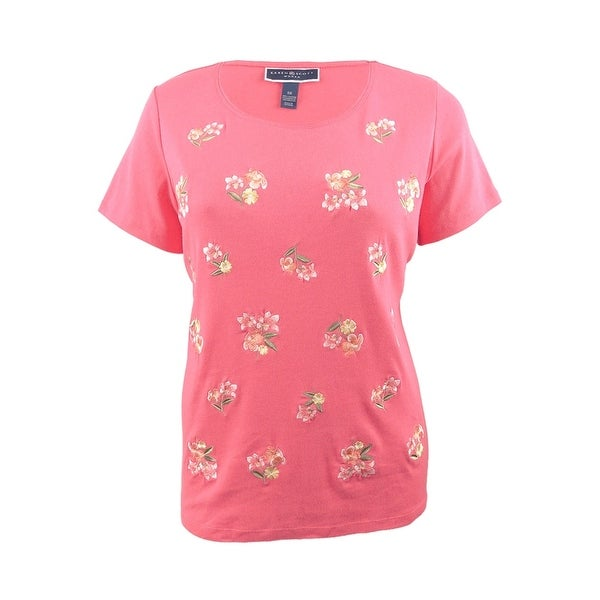 07d56401 Shop Karen Scott Women's Plus Size Cotton Embroidered T-Shirt - Peony Coral  - Free Shipping On Orders Over $45 - Overstock - 28084355