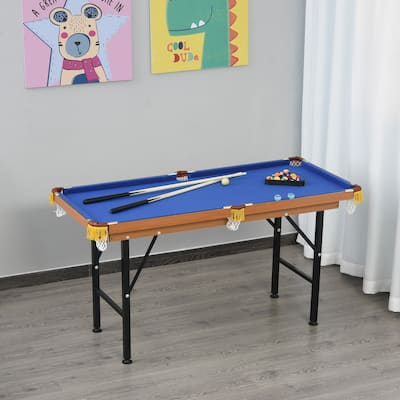 Soozier Portable Folding Billiards Table Game Pool Table for Kids Adults With Cues, Ball, Rack, Brush, and Steel Frame