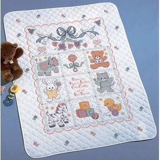 "Babies Are Precious Crib Cover Stamped Cross Stitch Kit-34""X43"""