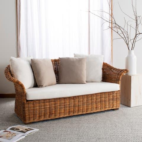 Safavieh Couture Oahu Wicker 2 Seater Sofa -Natural / Cream - 68.5 in w x 30.3 in d x 28.14 in h
