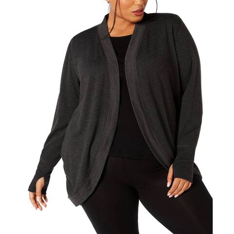 Ideology Plus Women's Fitness Yoga Cardigan, Grey, 1X