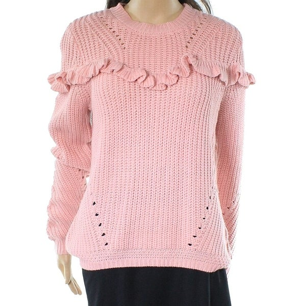 40591684e Shop Cotton Emporium NEW Pink Women s Size Large L Ruffled Crewneck Sweater  - Free Shipping On Orders Over  45 - Overstock.com - 21907989