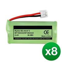 Replacement Battery For VTech BT18433 Cordless Phones - 6010 (750mAh, 2.4V, NiMH) - 8 Pack
