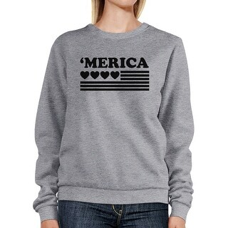 Heart 'Merica Unisex Grey Sweatshirt Pullover Fleece Round Neck Top