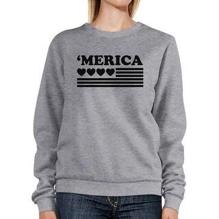 Heart 'Merica Unisex Grey Sweatshirt Pullover Fleece Round Neck Top (More options available)