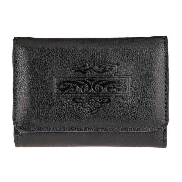 "Harley-Davidson Women's Celtic Embossed B&S Leather Wallet HDWWA11174-BLK - 4.5"" x 3.5"""