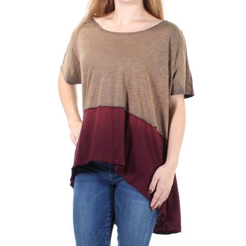 WE THE FREE Womens Burgundy Color Block Dolman Sleeve Scoop Neck Hi-Lo Top Size: M