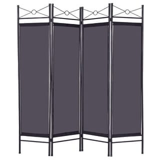 costway black 4 panel room divider privacy folding screen home office fabric metal frame - Decorative Screens