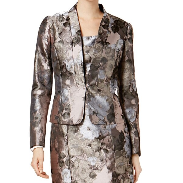 Kasper Antique Petal Brown Womens Size 4 Kiss Front Floral Jacket