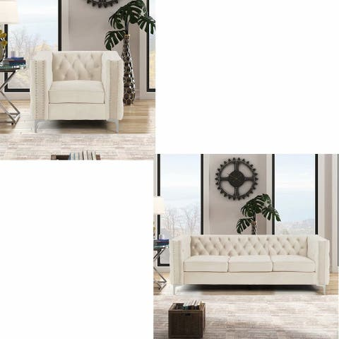 Morden Fort Modern 2 Pieces of Chair and Sofa Couch Set with Dutch Velvet Beige, Iron Legs