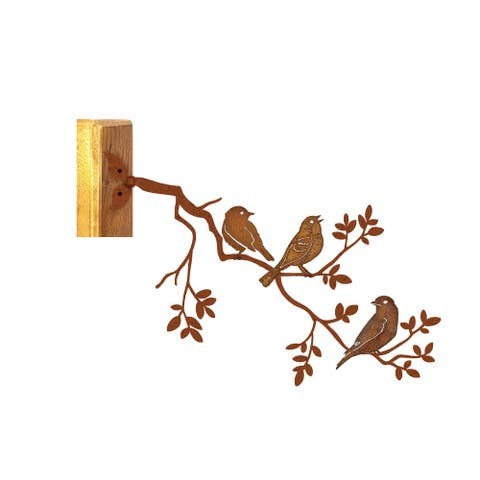 California Home and Garden Metal Rustic Look Rust Bluebird Sing on Branch, 12 Inch Tall, Brownish Red