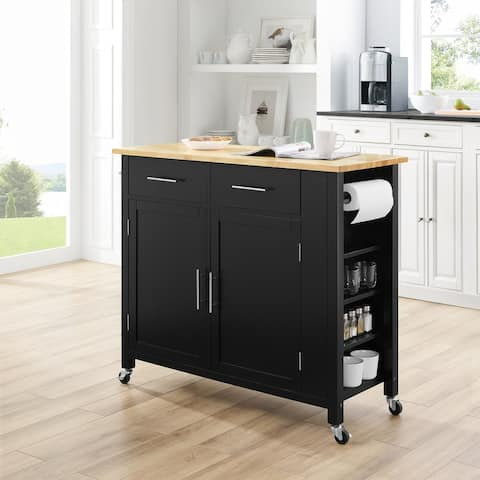 "Savannah Full-size Wood-top Kitchen Cart - 37""H x 42""W x 18.25""D"