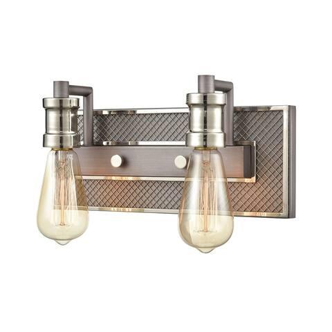 Gridiron 2-Light Vanity Light in Weathered Zinc and Polished Nickel