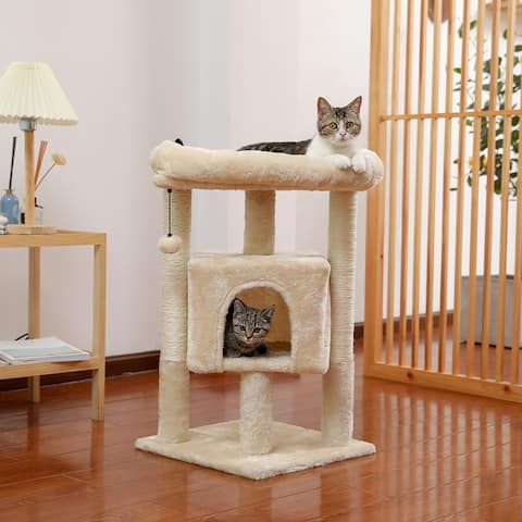 """Sevie 28""""H Gray Cat Tower With Condo And Sisal Posts"""