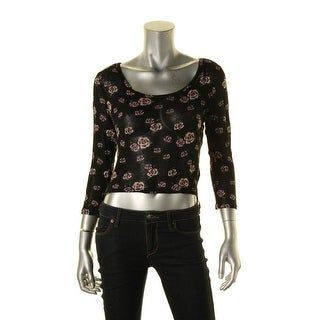 Freshman Womens Juniors Pullover Sweater Floral Print Cropped - M