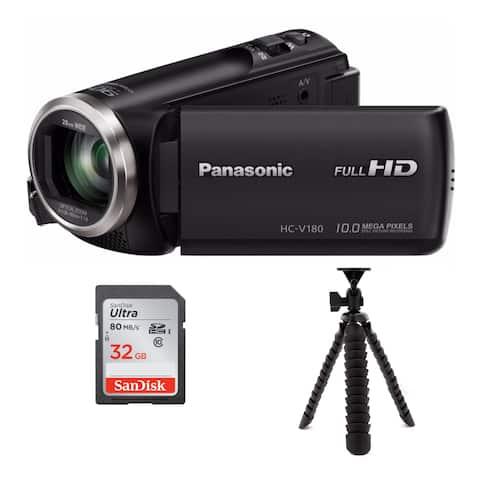 Panasonic HC-V180K Full HD 1080p Camcorder with Tripod & 32GB SD Card