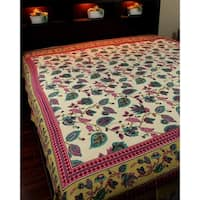 Cotton Floral Tapestry Tablecloth Coverlet Bedspread Dorm Decor Beach Sheet Twin, Full
