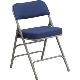 Rivera Padded Metal Folding Chair, Navy Fabric Seat/Back, 2.5'' Foam