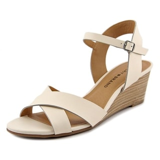Lucky Brand Jaidan Women Open Toe Leather Ivory Wedge Heel