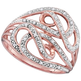 10kt Rose Gold Womens Round Natural Diamond Woven Cocktail Fashion Ring 1/10 Cttw - White
