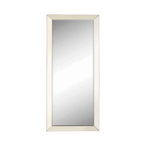 Rectangular Shaped Floor Mirror with Beveled Edge, Silver