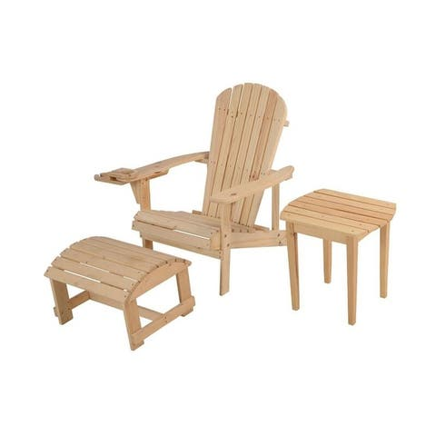 Earth Collection Adirondack Chair with phone and cup holder (Chair, Ottoman and End table set)