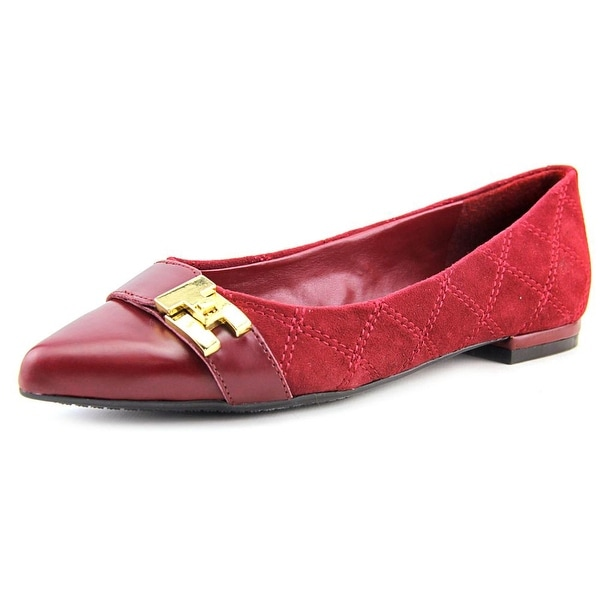 Tommy Hilfiger Katya Women Pointed Toe Suede Red Flats