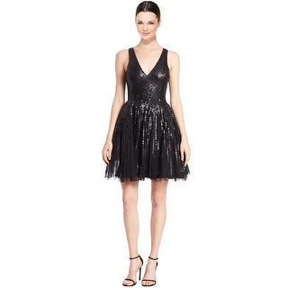 Parker Black Flared Sequined Theater Party Cocktail Evening Dress