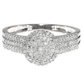 1/3cttw Diamond Bridal Promise Engagement Ring 10K White Gold 9mm Wide (0.33cttw)