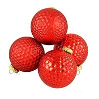 "4ct Red Prism Textured Shatterproof Christmas Ball Ornaments 2.75"" (70mm)"